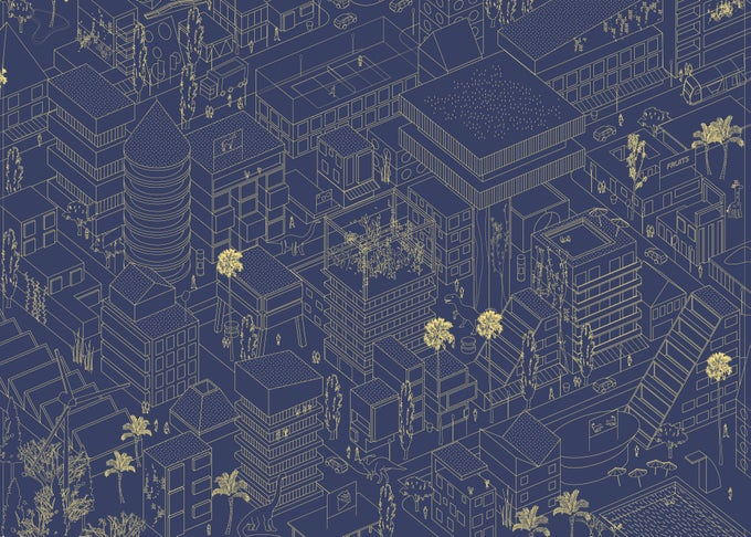 Image of ISO DINO BLUE GOLD PRINT