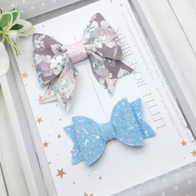 Image of Floral & Blue Glitter Bow Set
