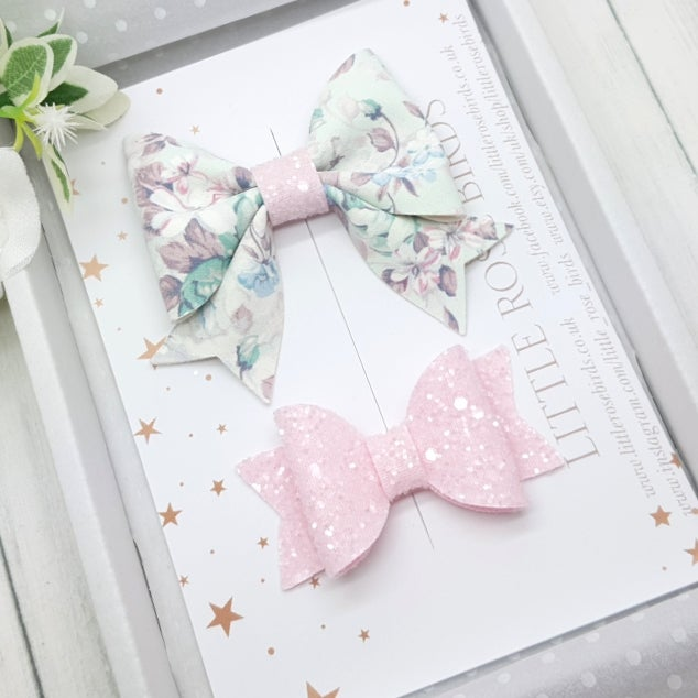 Image of Floral & Pink Bow Set