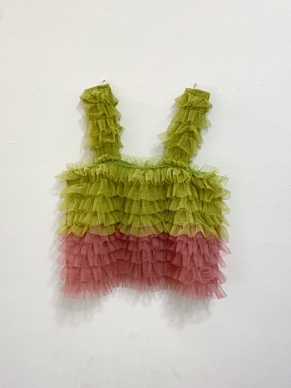 Lime / pink ruffle top