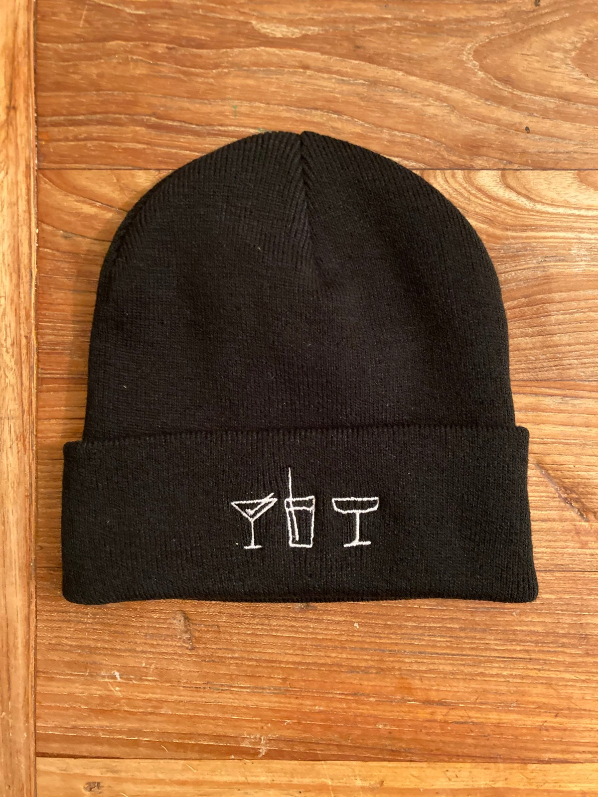 "Image of 14 Support Beanie ""All Drinks On Me!"" black"