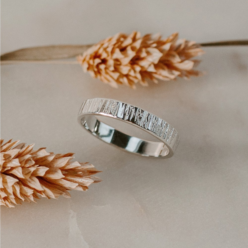 Image of Textured Bark Silver Ring