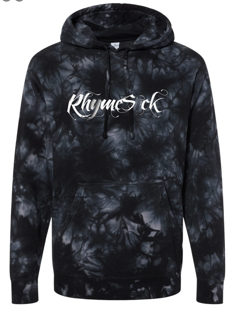 Image of RhymeSick Terry Cloth Tie Dye Black and Grey Hoodie w/ Metallic RS Logo