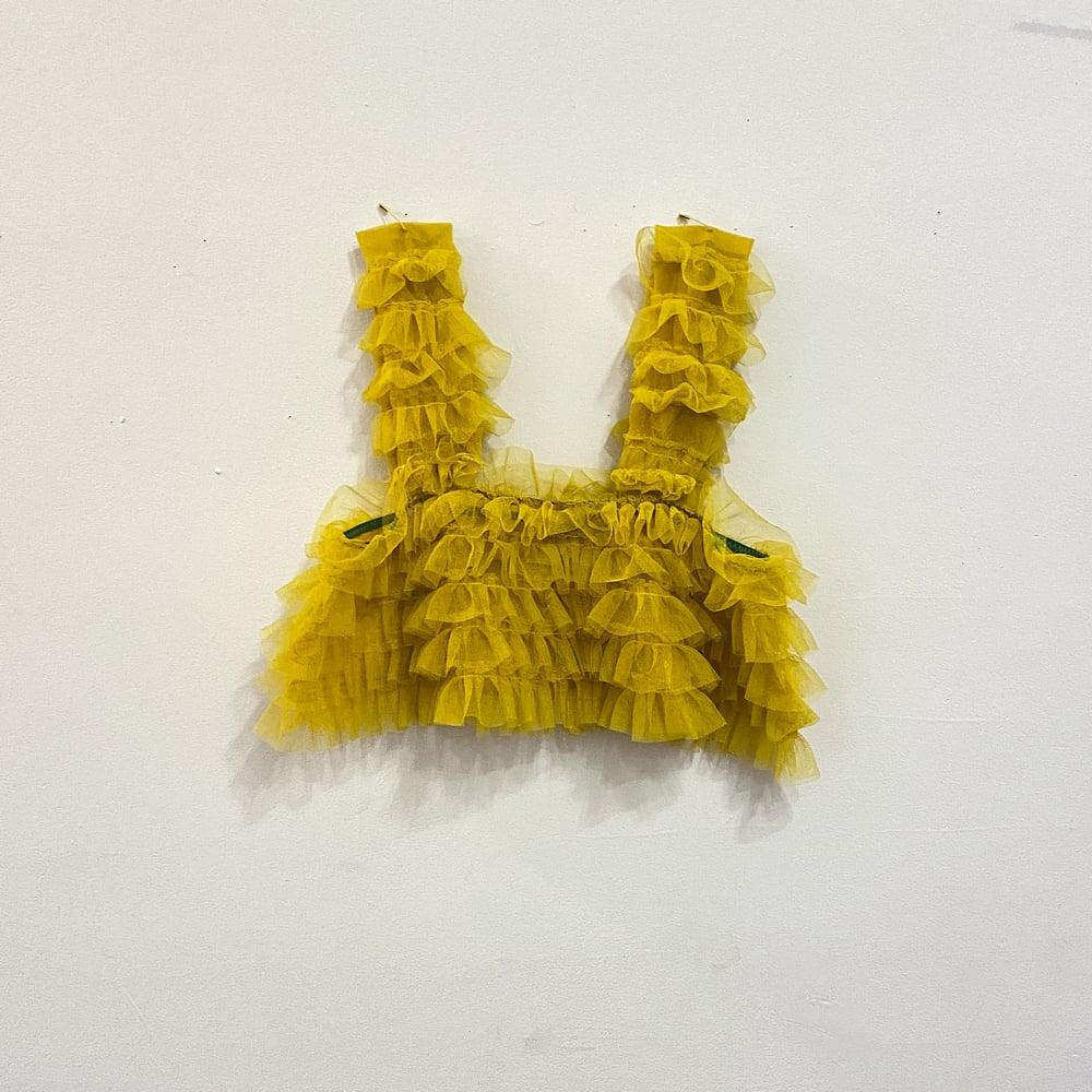 Yellow ruffle top / mask set
