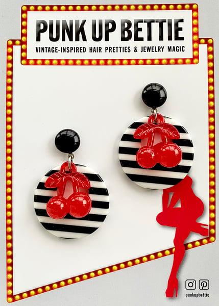 Image of Retro Cherry Delight Earrings - Black Stripes