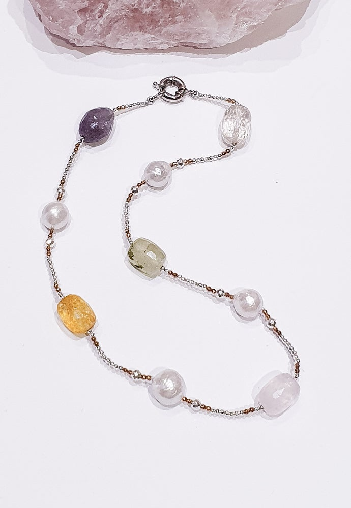 Image of Mixed Quartz, Pearl and Hematite Necklace