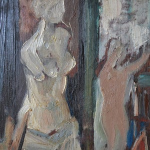 Image of Early 20th Century, French Painting, 'Artist's Studio.'