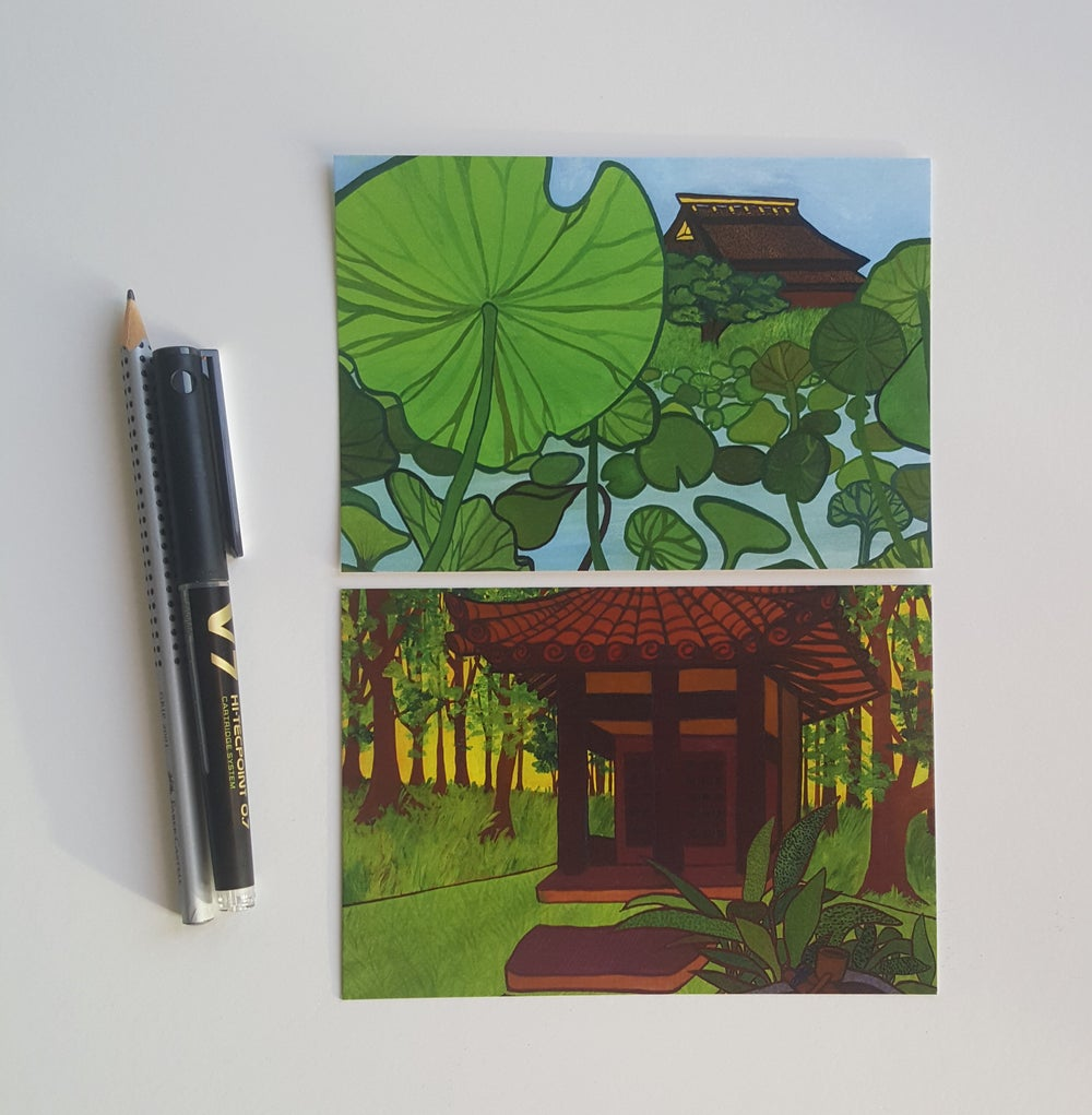 Japanese garden postcards