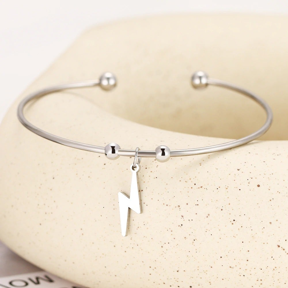 Lightning Bolt Pendant Open Bracelet (Stainless Steel)