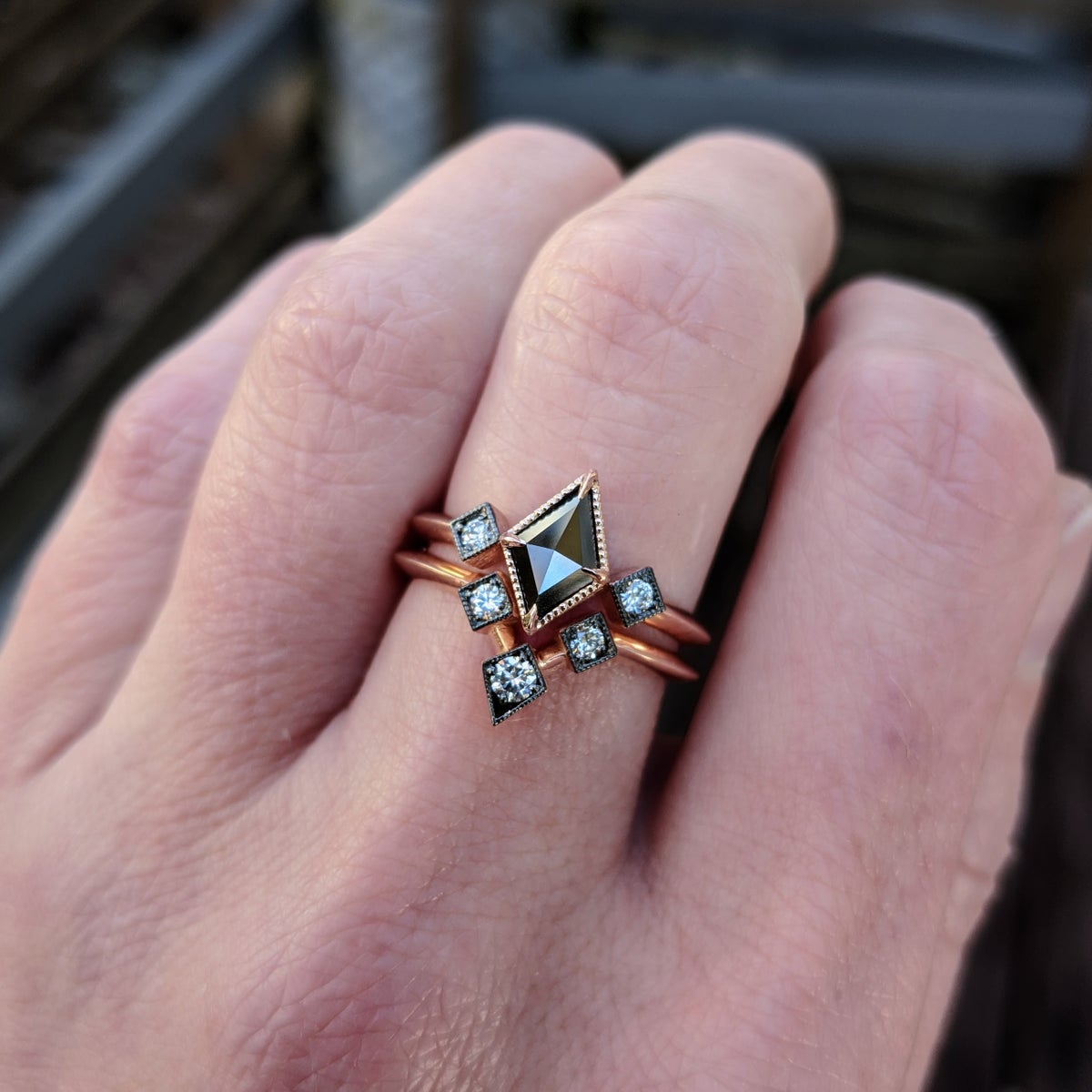 Image of Jade Rose Ring Set