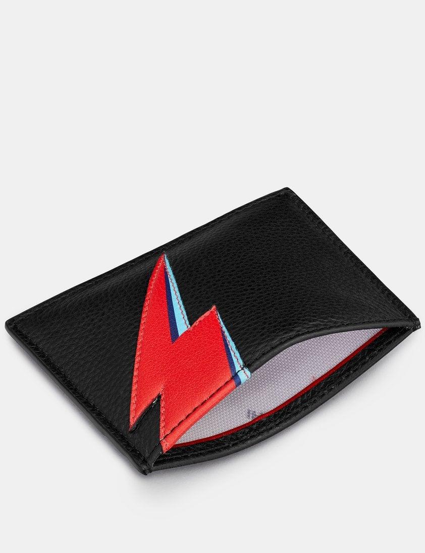 Lightning Bolt Black Leather Academy Card Holder