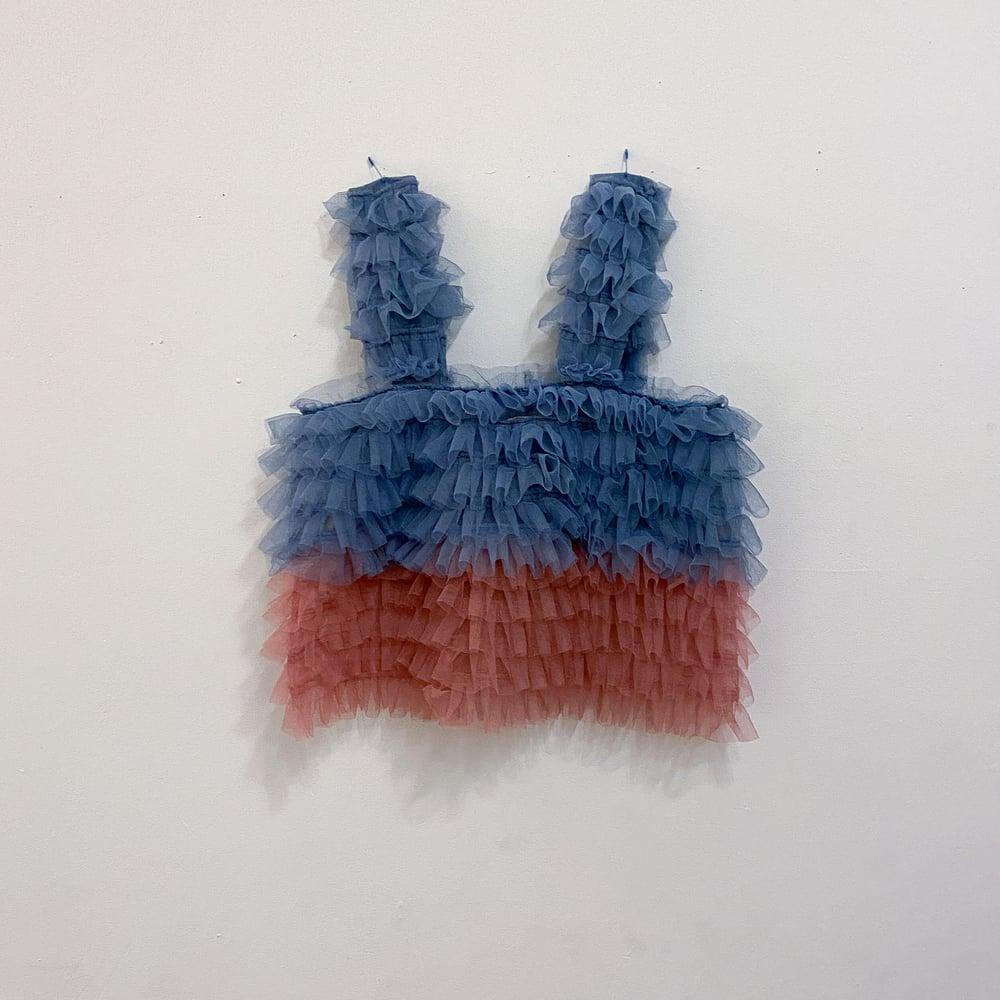 Blue / pink ruffle top