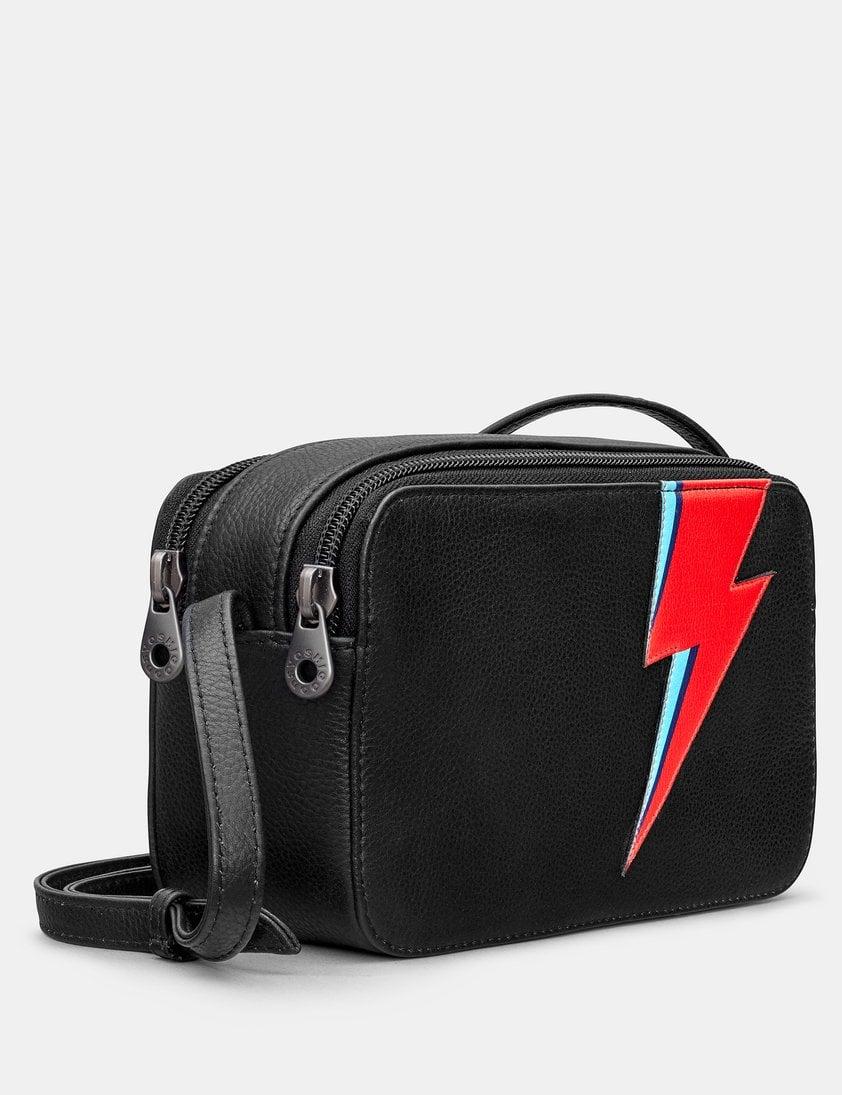 Lightning Bolt Black Leather Porter Cross Body Bag