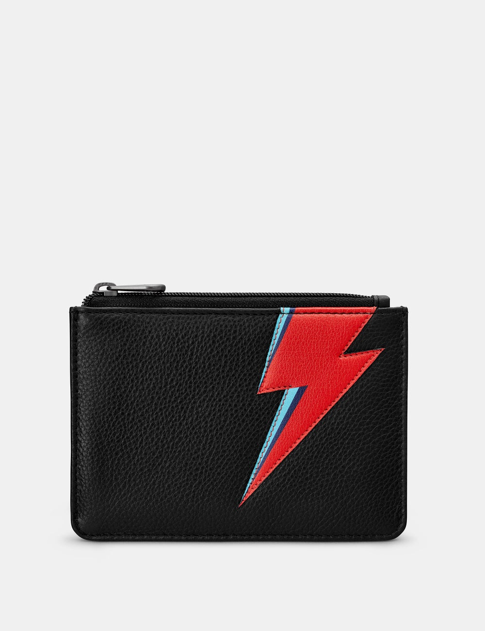 Lightning Bolt Black Leather Zip Top Franklin Purse