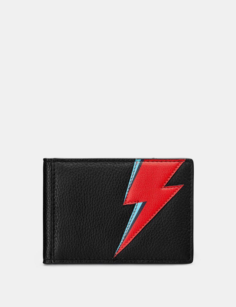 Lightning Bolt Black Leather Travel Pass Holder