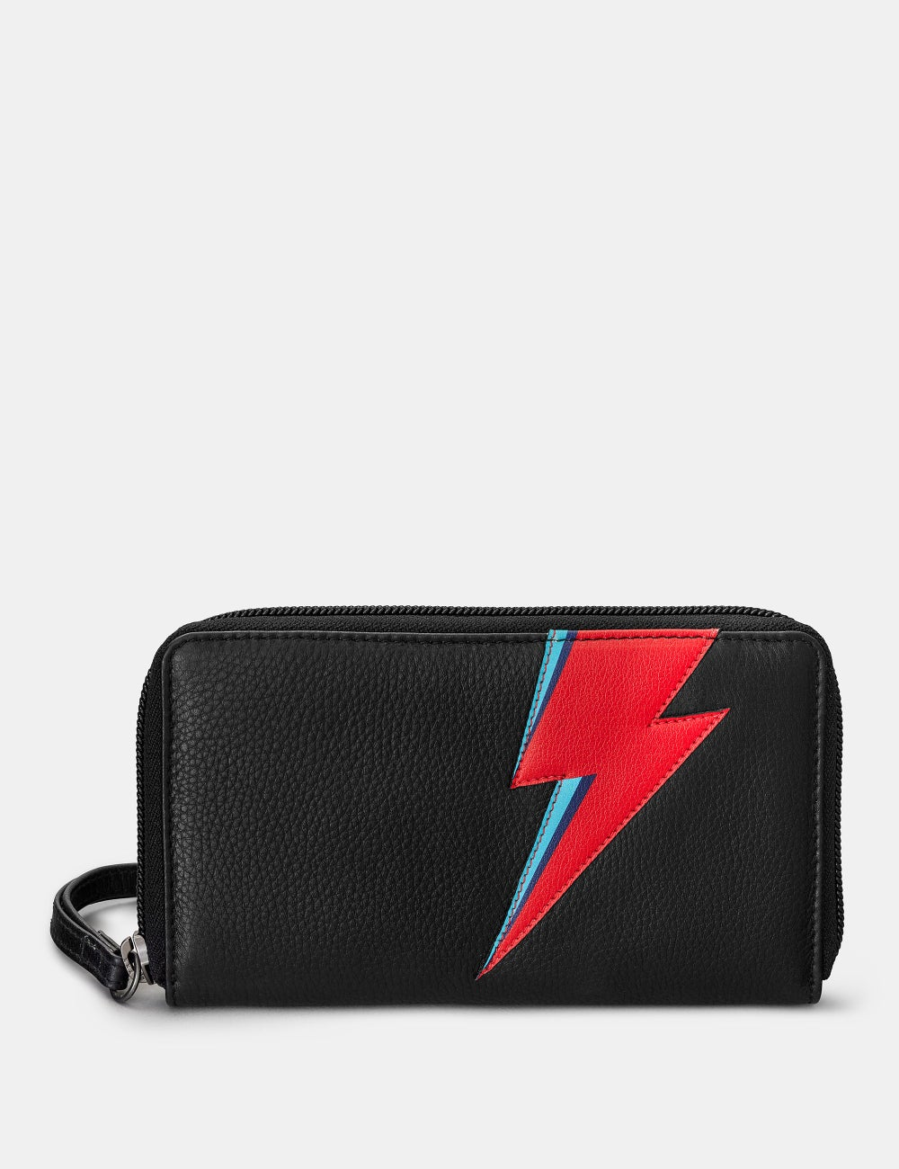 Lightning Bolt Black Zip Round Leather Purse With Wrist Strap
