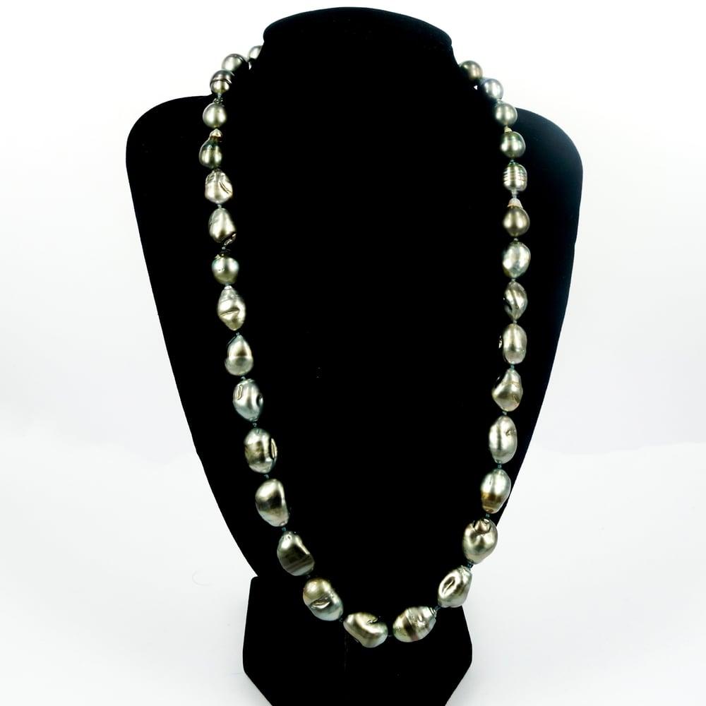 Image of Natural Tahitian Pearl long strand necklace. SH1303