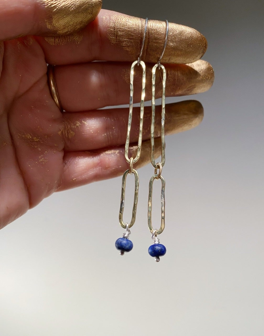 Image of Link and stone drop earrings