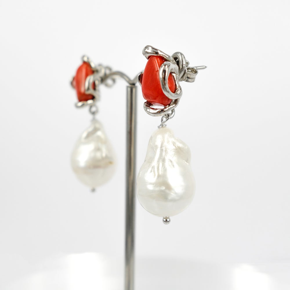Image of Sicilian artisan sterling silver, coral and baroque pearl drop earrings. M3205