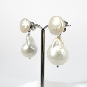 Image of Sicilian artisan sterling silver  baroque pearl drop earrings. M3206