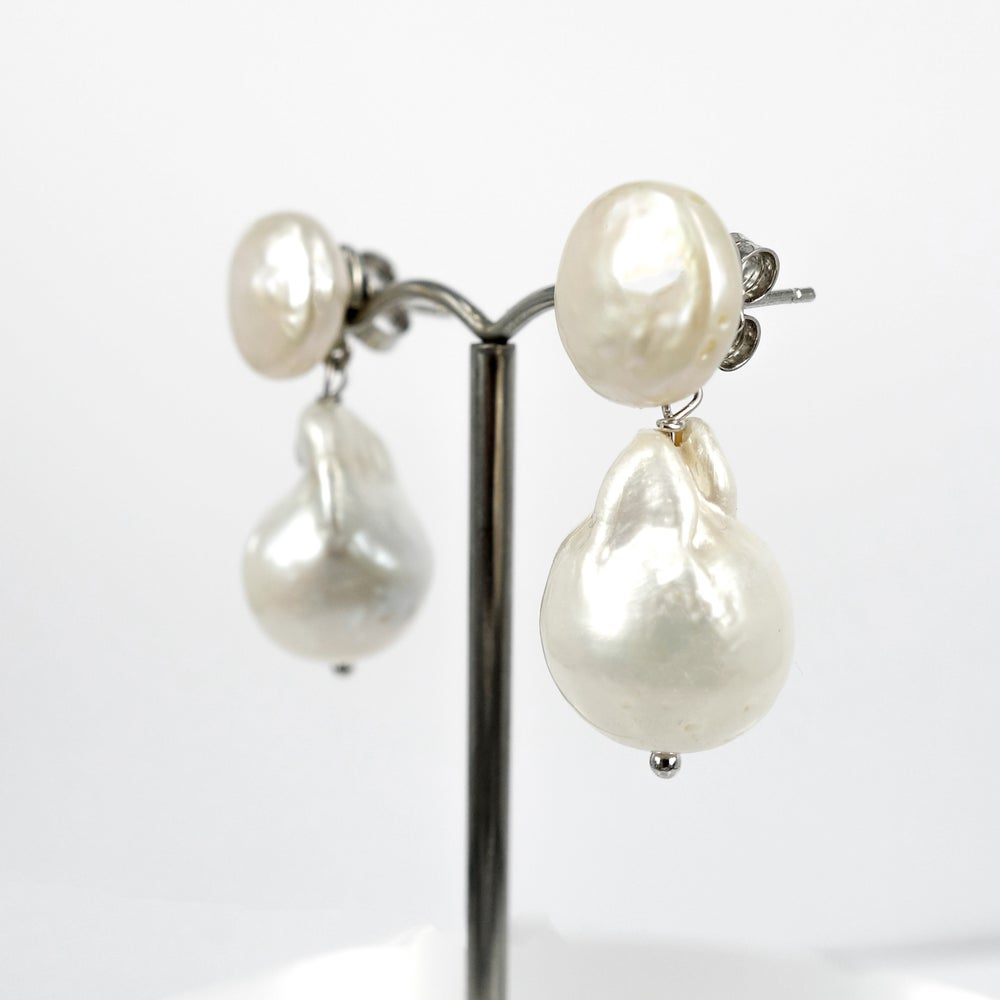 Image of Sicilian artisan sterling silver  baroque pearl drop earrings. M3206