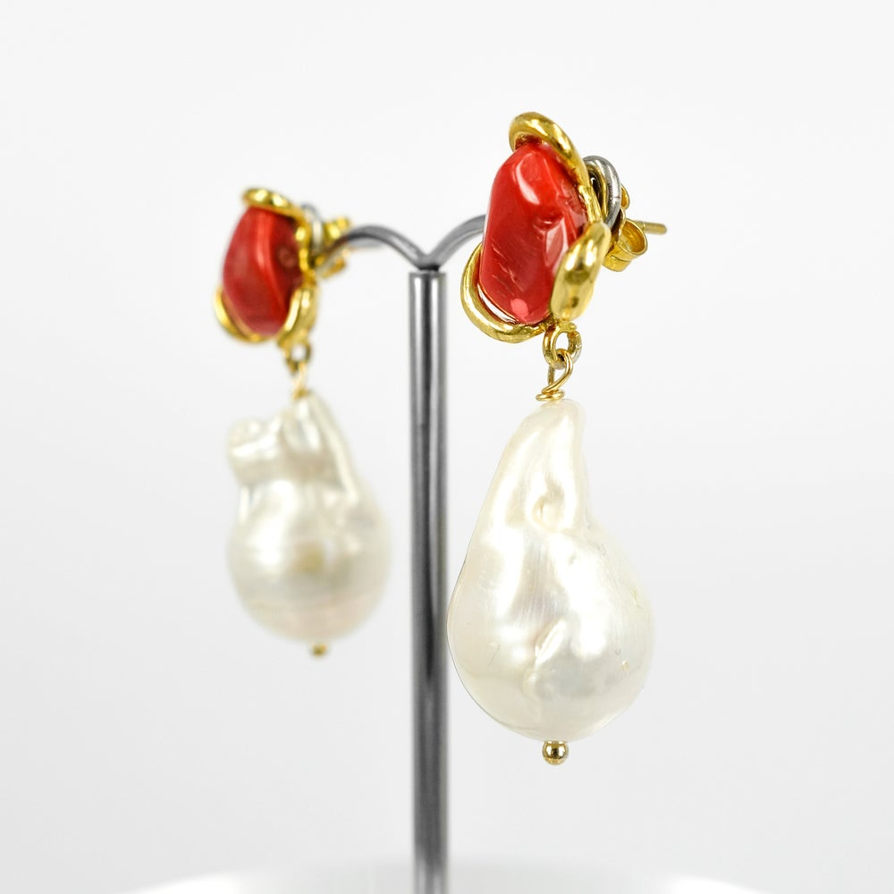 Image of Sicilian artisan yellow gold plated sterling silver, coral and baroque pearl drop earrings. M3208