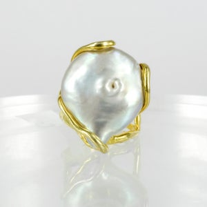 Image of Sicilian artisan yellow gold plated sterling silver, coral and baroque pearl large ring. M3210