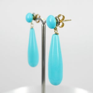 Image of Sicilian artisan sterling yellow gold plated sterling silver and turquoise drop earrings. M3212