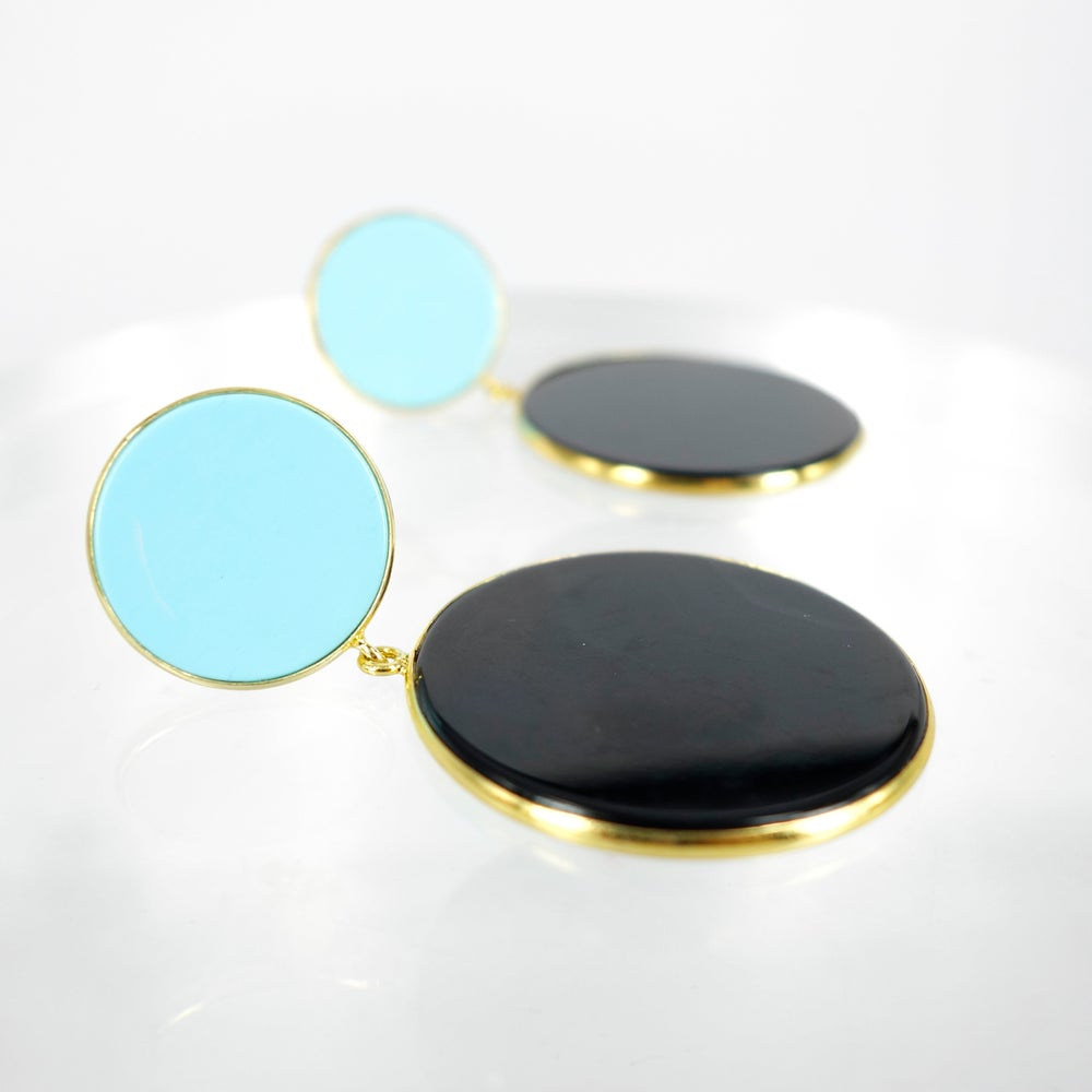 Image of Sicilian artisan yellow gold plate sterling silver onyx and turquoise retro drop earrings. M3215