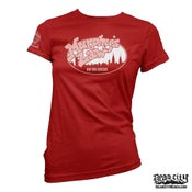 "Image of MURPHY'S LAW ""Skyline New York Hardcore"" Red Girlie Shirt."
