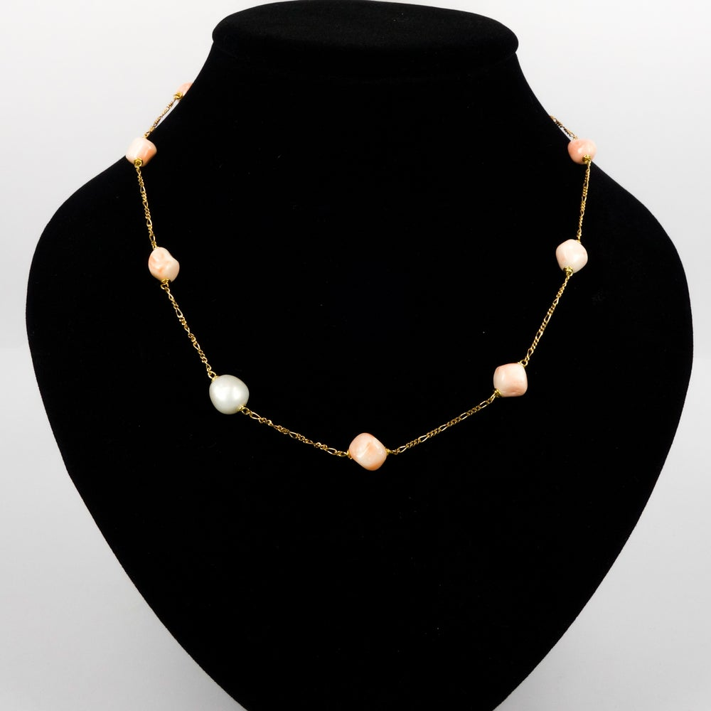 Image of Sicilian artisan yellow gold plate sterling silver coral & pearl necklace.M3217