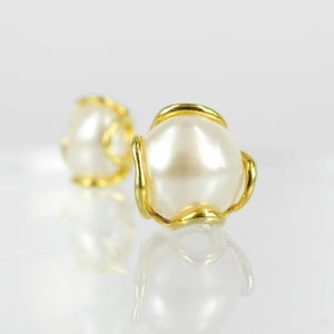 Image of Sicilian artisan yellow gold plated, sterling silver stud pearl earrings .M3219