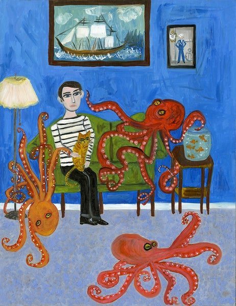 Image of After an especially profound encounter, Hugh will never again eat octopus. Limited edition print.