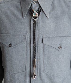 """Image of Zuni Inlay Thunderbird Bolo Tie signed """"FYC"""" Zuni Silversmith, with Turquoise, Mother of Pearl Jet"""