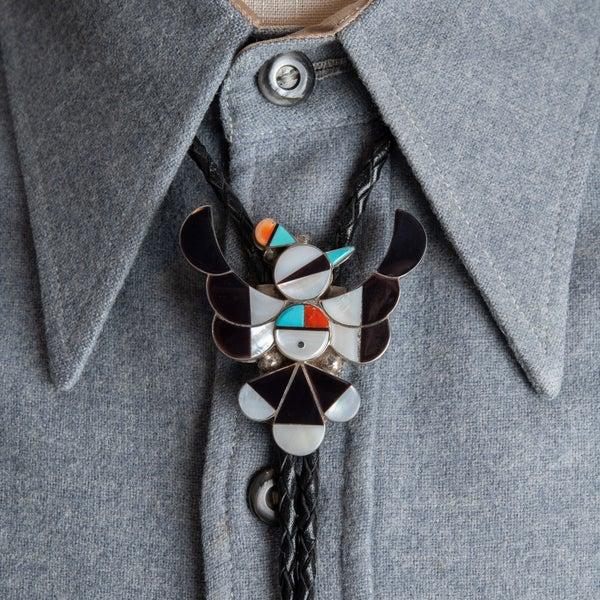 "Image of Zuni Inlay Thunderbird Bolo Tie signed ""FYC"" Zuni Silversmith, with Turquoise, Mother of Pearl Jet"