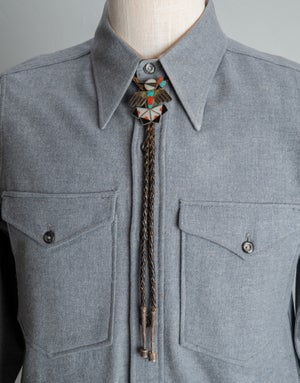 Image of Zuni Inlay Thunderbird Bolo Tie signed MEZA, a Zuni Silversmith, with Turquoise, Mother of Pearl