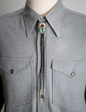 Image of Zuni Horse Head Bolo tie signed by Mike and Sarah Simplicio Mother of Pearl with Turquoise Nuggets