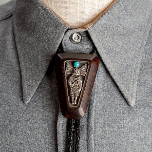 Image of Ironwood and Sterling Silver Bolo Tie with Apache Kachina made by Bob Woods