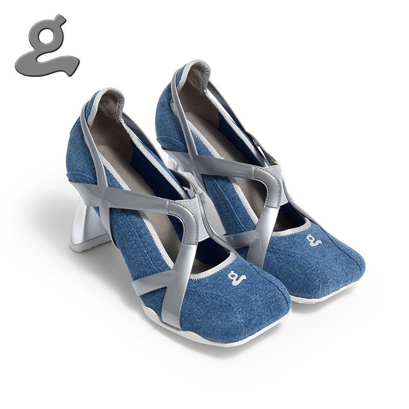 """Image of Denim TPU spliced sports middle heel shoes """"adult"""""""
