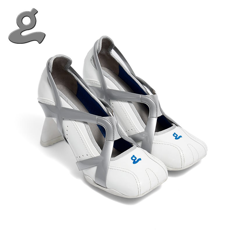 """Image of White TPU spliced sports middle heel shoes """"adult"""""""