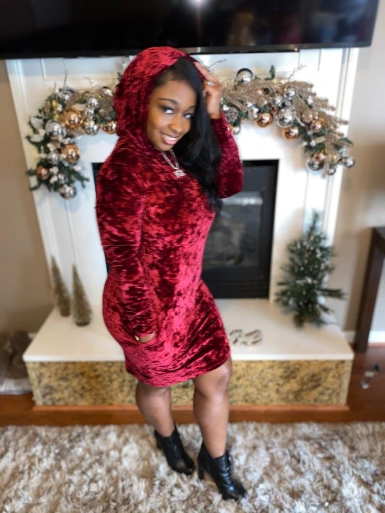 Image of Crushed Velvet Hoodie Dress