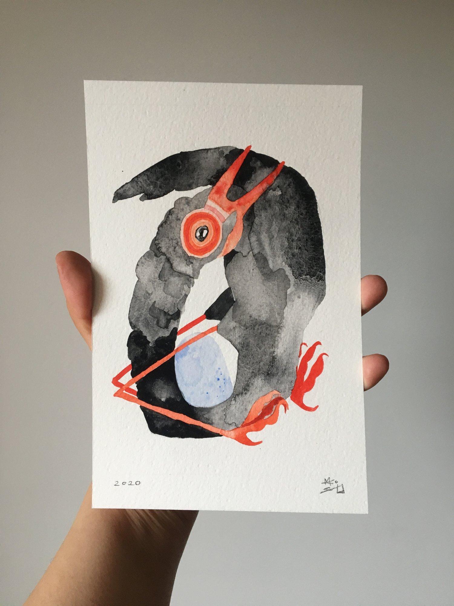 Strange bird with egg, 2020