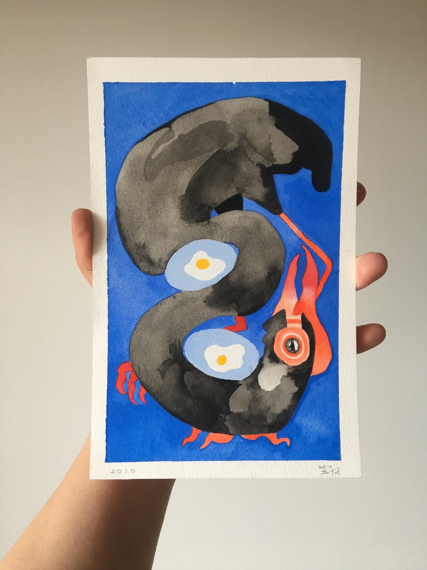 Two Eggs Cobalt, watercolour