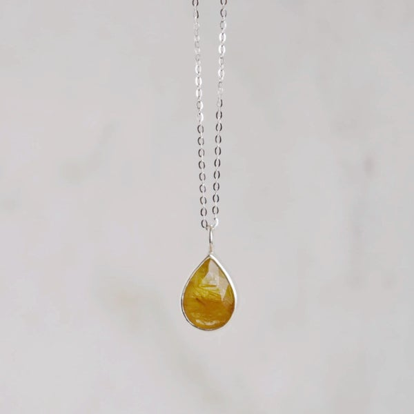 Image of Golden Rutilated Quartz pear cut silver necklace