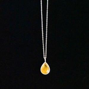 Image of Golden Rutilated Quartz pear cut silver necklace