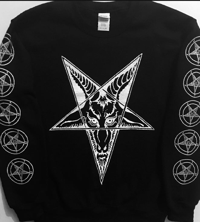 Image of Baphomet Goat Head - Sweatshirt with Sleeve prints