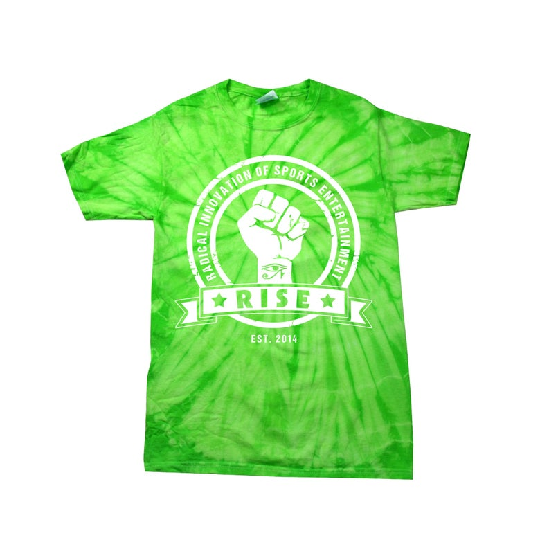 Image of LAST ONE LEFT: Green Tie Dye RISE logo T-Shirt. Large.