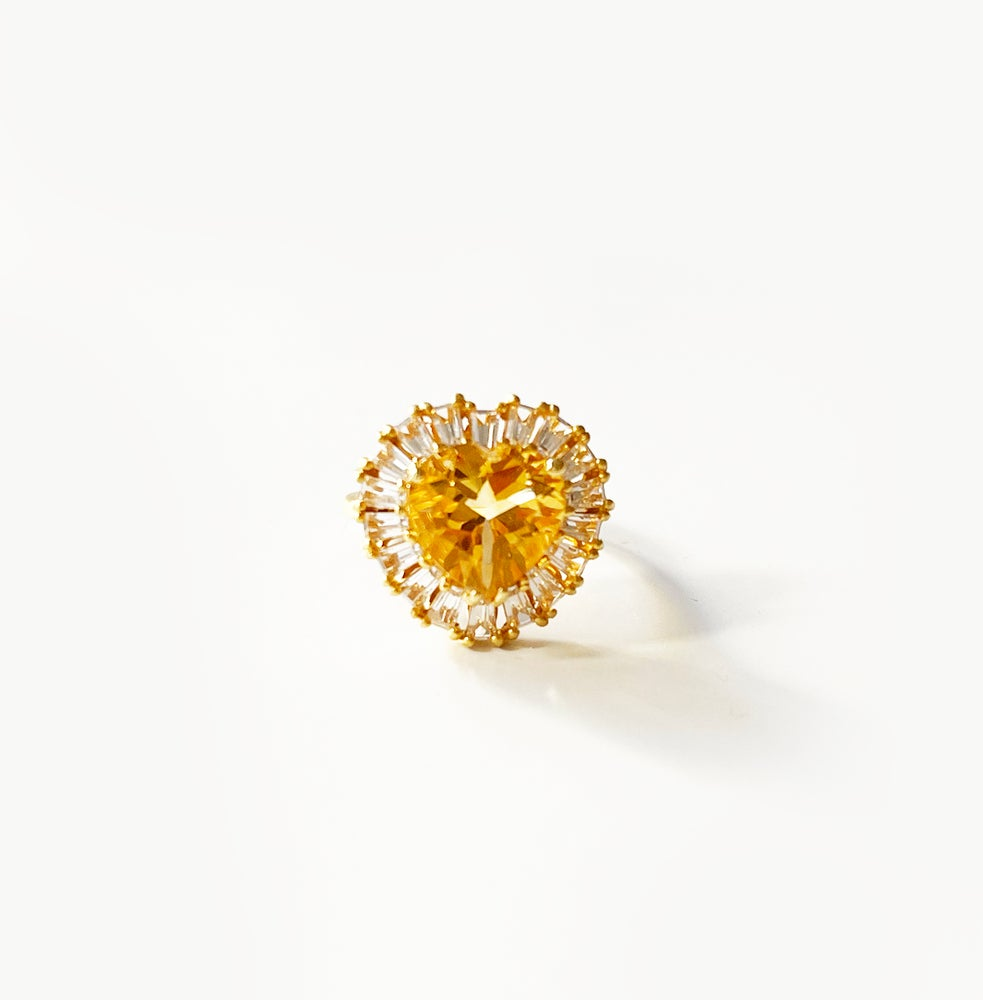 Image of Golden citrine topaz heart ring