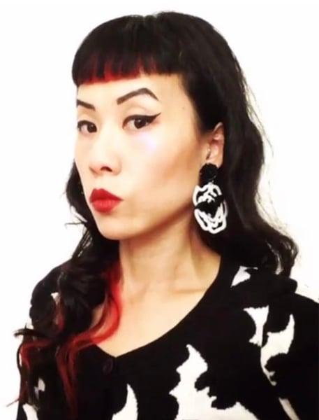 Image of SALE - Bat Rose Crazy Earrings