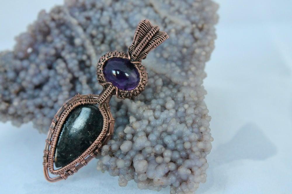 "Image of ""Lucianna"" Large Nuummite & Amethyst Amulet Pendant"